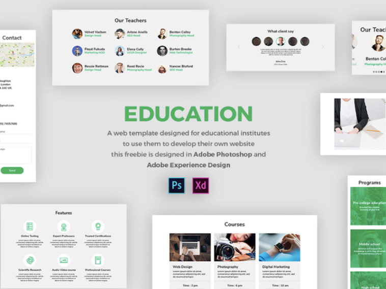 Adobe Xd And Psd Education Ui Templates Xd File