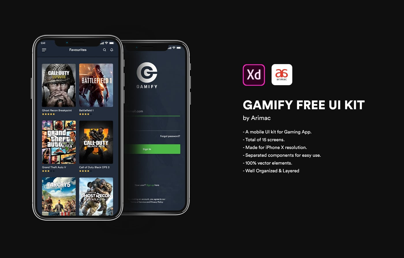 Game UI Kit Adobe XD - Xd File