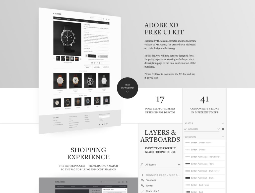 Black & White Ecommerce UI Kit For Adobe Xd - Xd File