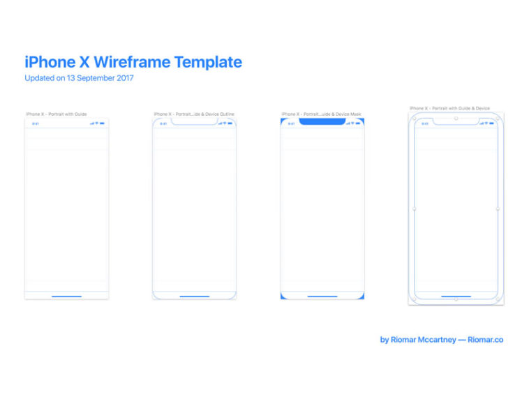 iPhone X Wireframe Template with Guides - Xd File