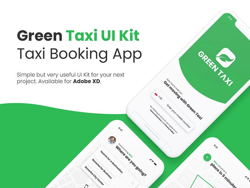 Green Taxi Booking App – Free XD UI kit - Xd File