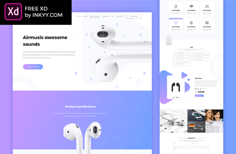 Free Music Player App and Web Concept Adobe Template - Xd File