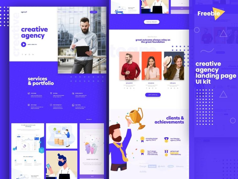Creative Agency Landing Page Adobe Xd Template Xd File