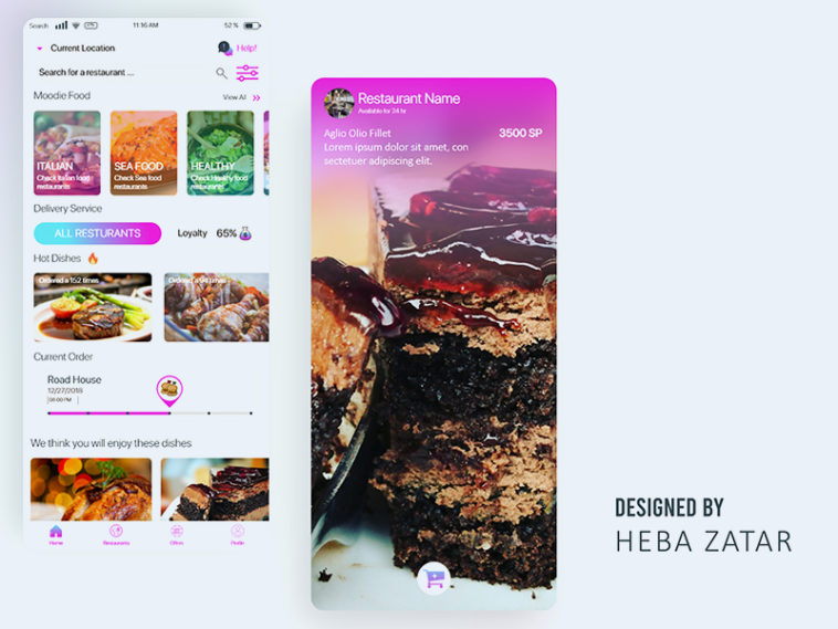 Free Online Food Delivery App Design Template - Xd File