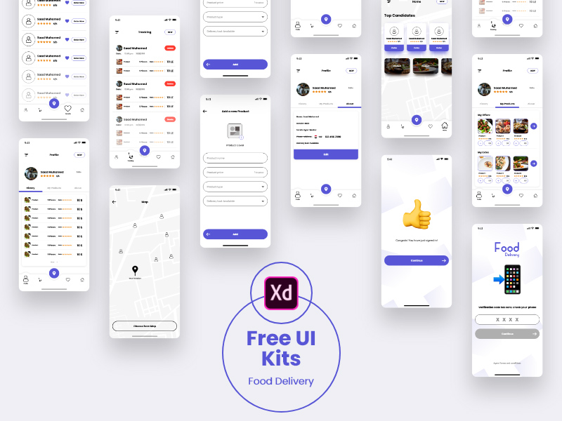 Free Adobe Xd Food Delivery Ui Kit Templates Xd File