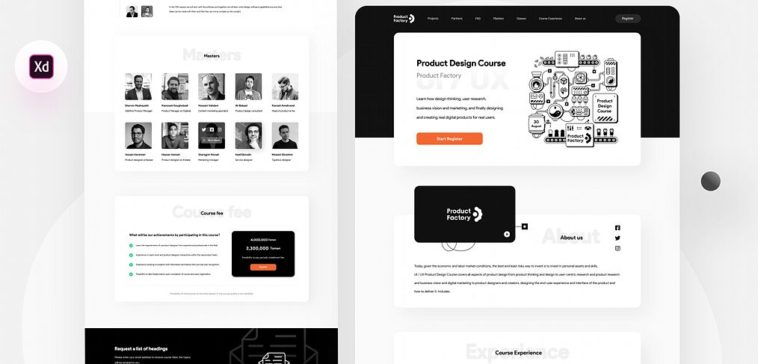 Free Design Course Landing Page Xd Template Xd File