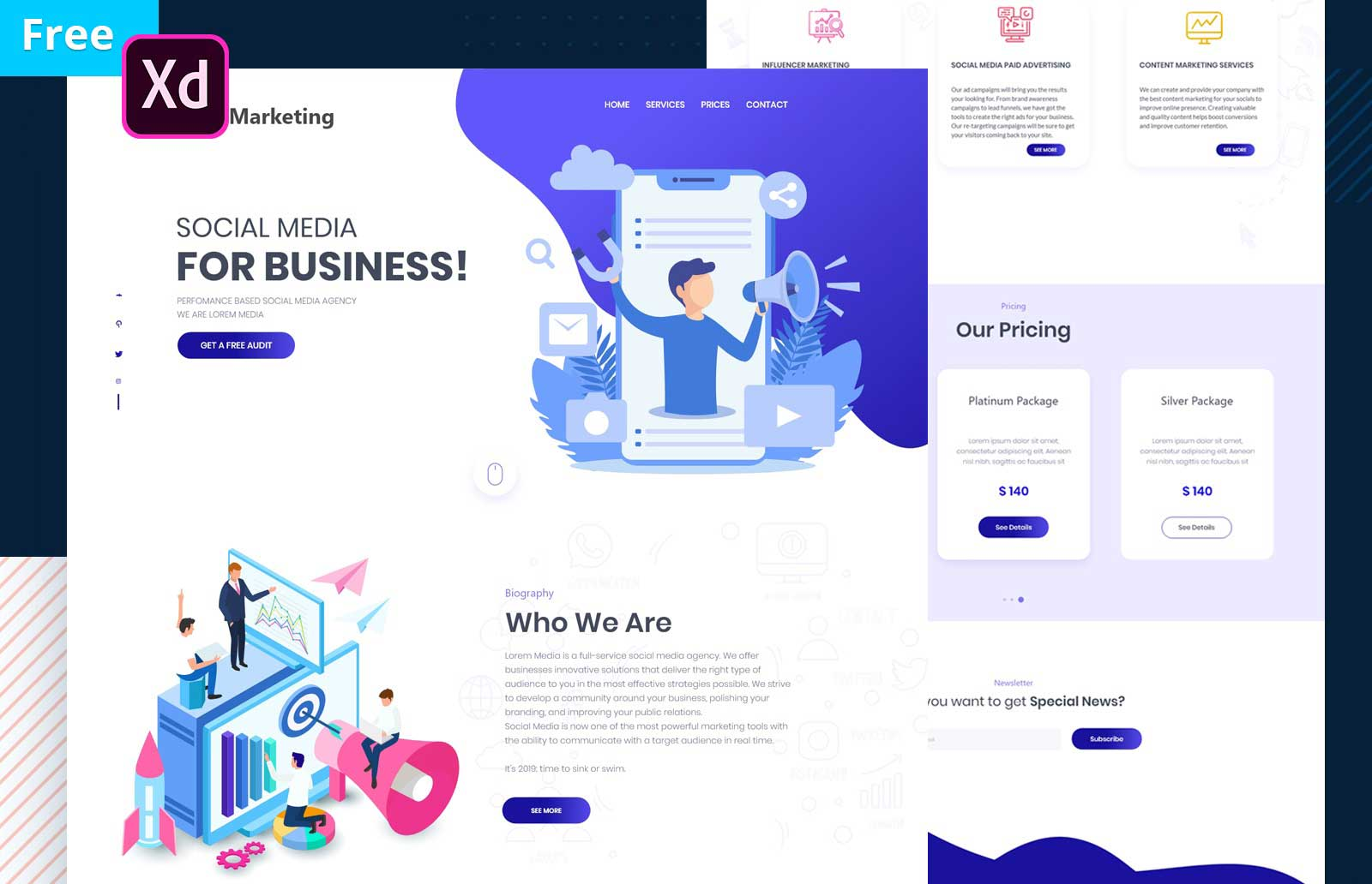 Free Social Media Marketing Xd Website Template Free Adobe Xd File
