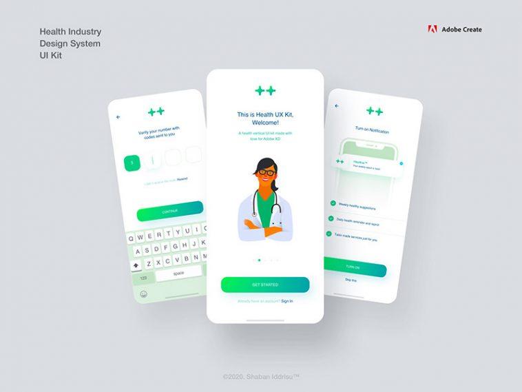 Free Health Industry App Design System Ui Kit Xd Free Xd File