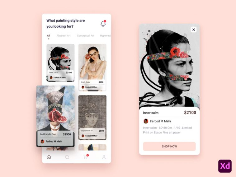 Art and Painting Ecommerce App Template for Adobe XD