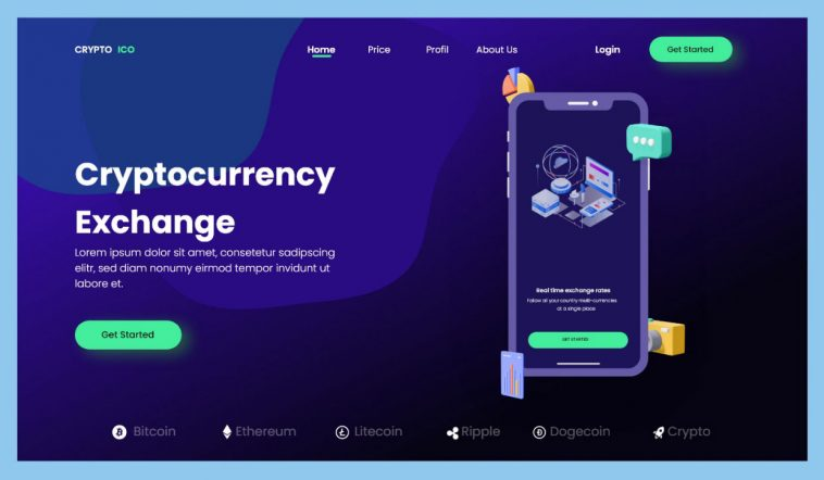 Cryptocurrency Exchange Free Adobe XD Landing Page