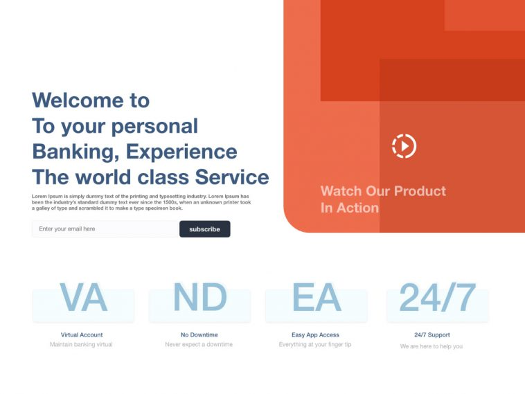 Banking Experience XD Landing Page